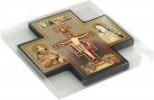 Immagine di 'Croce icona San Damiano stampa su legno - 15 x 15 cm'
