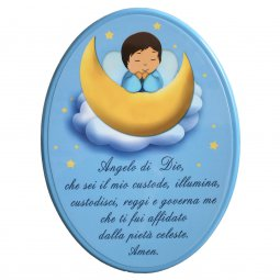 """Copertina di 'Icona ovale azzurra """"Angelo di Dio"""" per bambini - dimensioni 21x29 cm'"""