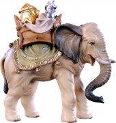 Elefante con carico H.K. - Demetz - Deur - Statua in legno dipinta a mano. Altezza pari a 11 cm.