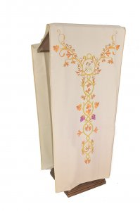 Copertina di 'Coprileggio avorio con agnello ed uva stampati su croce ad Y'