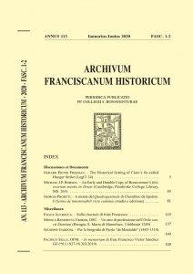 Archivum Franciscanum Historicum n. 2020/1-2