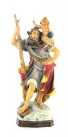 San Cristoforo dipinto a mano in legno di acero con finiture in oro zecchino cm 20