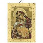 """Icona a sbalzo con cornice dorata """"Madonna col Bambino"""" - dimensioni 14x10 cm"""