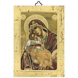 """Copertina di 'Icona a sbalzo con cornice dorata """"Madonna col Bambino"""" - dimensioni 14x10 cm'"""