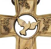 Immagine di 'Bomboniera comunione/cresima: Croce in ulivo con simboli comunione e cresima - 4,7 cm'
