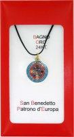 Medaglia San Benedetto mm.22 coniata con bagno oro 24 kt con smalti levigati di  su LibreriadelSanto.it