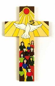 """Copertina di 'Croce in legno """"Dono dello Spirito"""" - altezza 25 cm'"""
