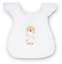 Copertina di 'Vestina bianca per Battesimo con candela e pesce ricamati'