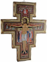 Croce di San Damiano in legno massiccio in stile fiorentino - dimensioni 42x33 cm