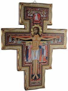 Copertina di 'Croce di San Damiano in legno massiccio in stile fiorentino - dimensioni 42x33 cm'