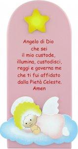 Copertina di 'Pala bassorilievo Angelo di Dio in legno colorato rosa cm 28x12'