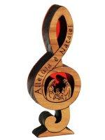 Natività nota di violino in legno d'ulivo - altezza 8 cm