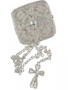 Copertina di 'Rosario in filigrana d'argento con portarosario quadrato - grani tondi forati 4 mm'