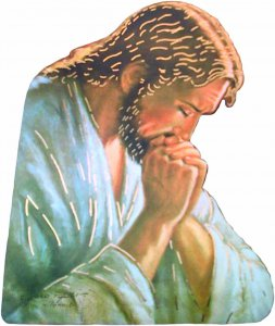 """Copertina di 'Quadretto sagomato """"Cristo in meditazione"""" da appendere con Padre Nostro'"""