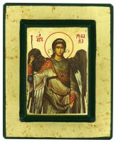 Icona San Michele Arcangelo, produzione greca su legno - 13,5 x 11 cm
