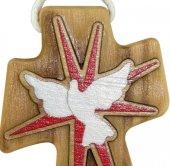 Immagine di 'Bomboniera cresima: Croce in ulivo con colomba e cordoncino - 4,7 cm'