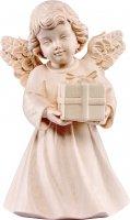 Statuina dell'angioletto con pacchetto regalo, linea da 10 cm, in legno naturale, collezione Angeli Sissi - Demetz Deur