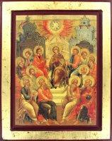 """Icona """"Discesa dello Spirito Santo"""" su legno cm 18x14"""