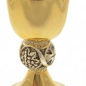 Immagine di 'Calice dorato con nodo scultoreo argentato - altezza 19 cm'