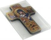 Immagine di 'Croce icona Madonna della Tenerezza stampa su legno - 12 x 18 cm'