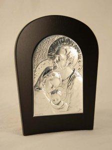 """Copertina di 'Icona in lamina d'argento """"Sacra Famiglia"""" - dimensioni 17,5x13,5 cm'"""