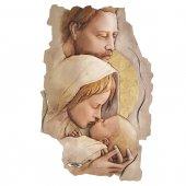 """Quadro in resina con bordo irregolare """"Sacra Famiglia"""" - 43 x 28 cm"""