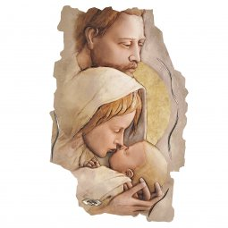 """Copertina di 'Quadro in resina con bordo irregolare """"Sacra Famiglia"""" - dimensioni 43x28 cm'"""