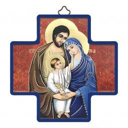 """Copertina di 'Croce in legno con lamina oro """"Sacra Famiglia"""" - dimensioni 12x12 cm'"""