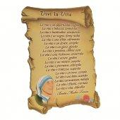 """Quadretto a forma di pergamena con piedino da appoggio """"Vivi la vita"""" (10 x 7) - Madre Teresa di Calcutta"""