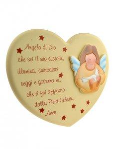 """Copertina di 'Quadretto a forma di cuore """"Angelo di Dio"""" - dimensioni 16x20 cm'"""