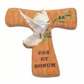 "Croce tau magnetica ""Pax et bonum con colomba"" - dimensioni 5,3x6 cm"