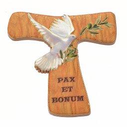 """Copertina di 'Calamita a forma di croce tau """"Pax et bonum con colomba"""" - dimensioni 5,3x6 cm'"""