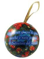 Immagine di 'Palla di Natale in metallo con Sacra Famiglia - diametro 6,5 cm'
