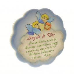 """Copertina di 'Quadretto azzurro con nuvola """"Angelo di Dio"""" - dimensioni 11x11 cm'"""