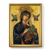 """Quadro  con lamina oro e cornice dorata """"Madonna del Perpetuo Soccorso"""" - 44 x 34 cm"""