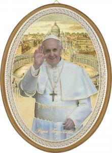 """Copertina di 'Icona ovale laccata oro """"Papa Francesco"""" - dimensioni 21,5x16 cm'"""