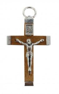 Copertina di 'Croce in legno naturale con retro in metallo - 3,2 cm'