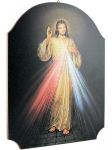 """Copertina di 'Quadro in legno sagomato """"Gesù misericordioso"""" - dimensioni 40x30 cm'"""