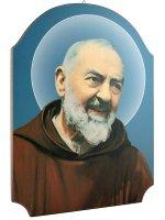 """Quadro in legno sagomato """"Padre Pio"""" - dimensioni 40x30 cm"""