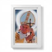 """Quadretto """"Papa Giovanni Paolo II"""" con passe-partout e cornice minimal - dimensioni 15x10 cm"""