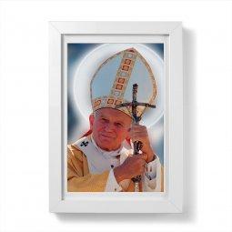 """Copertina di 'Quadretto """"Papa Giovanni Paolo II"""" con passe-partout e cornice minimal - dimensioni 15x10 cm'"""