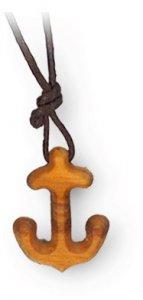 Copertina di 'Ciondolo con ancora in legno d'ulivo - 2 cm'