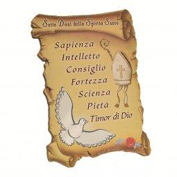 """Copertina di 'Quadretto a forma di pergamena con piedino da appoggio """"Sette doni dello Spirito Santo"""" (10 x 7)'"""