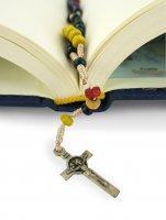 Immagine di 'Rosario missionario con grani in legno mm 4 legatura seta'