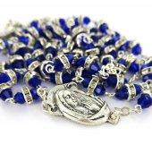 Immagine di 'Rosario semicristallo blu con strass bianchi'