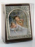 """Immagine di 'Icona in lamina d'argento """"Angelo Custode"""" - dimensioni 6,5x5,2 cm'"""