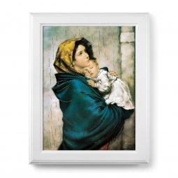 """Copertina di 'Quadro """"Madonnina"""" del Ferruzzi con lamina oro e cornice con decorazione a sbalzo'"""