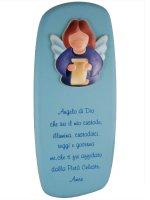 """Icona """"Angelo di Dio"""" per bambini azzurra - dimensioni 26,5x11,5"""