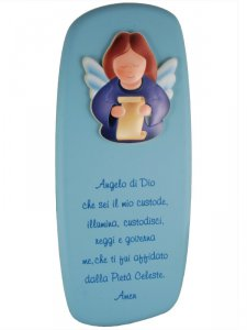 """Copertina di 'Icona """"Angelo di Dio"""" per bambini azzurra - dimensioni 26,5x11,5'"""
