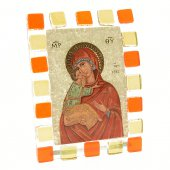 """Quadretto in vetro ricurvo """"Madonna della tenerezza"""" - dimensioni 10x17 cm"""